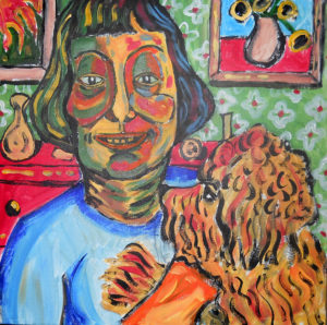 Dorothy Parker at Home with Dog by John Pipere