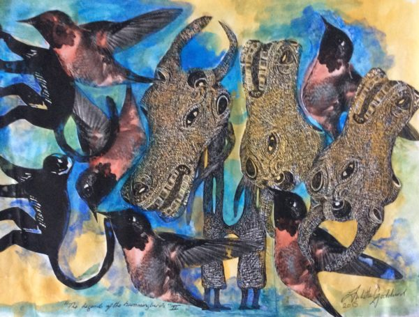 Buffalo series of paintings and the hummingbird by Juliette Goddard