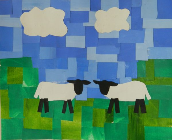 Sheep Collage by Ceridwen Powell