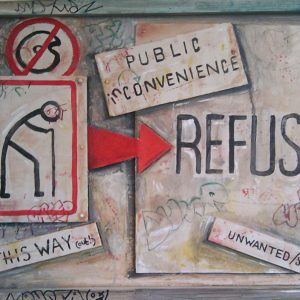 Collage artwork of a elderly person Road sign, red arrow icon and the text public inconvenience, refuse, this way up and unwanted