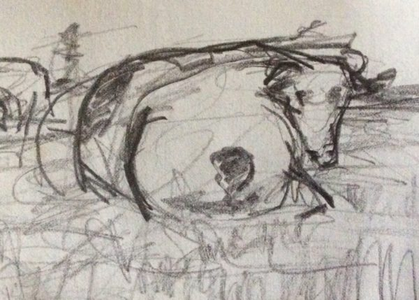 Cow Sketches in the landscapes by Juliette Goddard