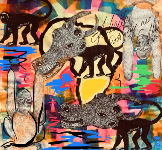 Tribal effects art inspired by animals of africa by Juliette Goddard