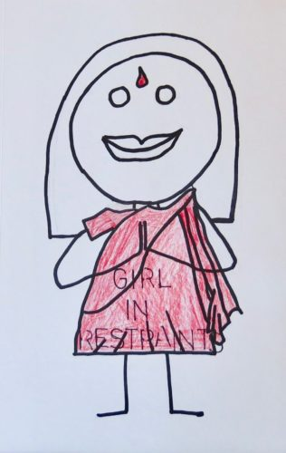 Girl In Restraints In A Red Sari by Susan Spangenberg