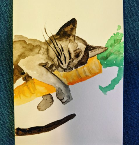 Cat on carrot postcard by Ana Tewson-Bozic