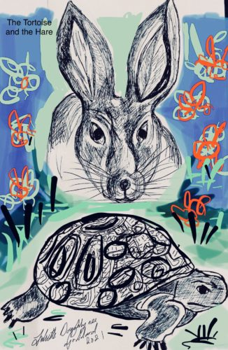Tortoise and the Hare blue by Juliette Goddard